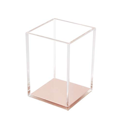 Pen Pot Pencil Holders Case Clear Acrylic Desk Organizer Cup Rose Gold Makeup Brush Holder for Office School Home Desktop Organizers and Accessories (Rose Gold Tone)