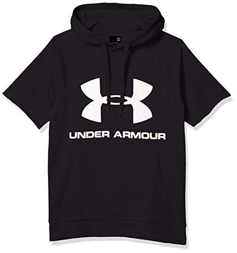 Under Armour, Felpa con Cappuccio da Uomo con Logo Rival Nero (002)/Bianco onice. XXXL