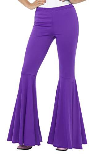 Smiffys-43076ML Pantalones acampanados, para mujer, Color púrpura, M a L - EU Tamaño 42-46 (Smiffy