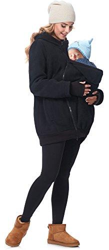 Be Mammy Chaqueta Abrigo Premamá Panel Extraíble Embarazo Ropa Invierno BE20-181 (Negro, EU 42=ES 42)