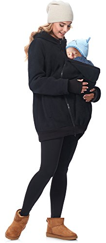 Be Mammy Damen Fleece Übergangsjacke Umstandsjacke BE20-181 (Schwarz, 42)