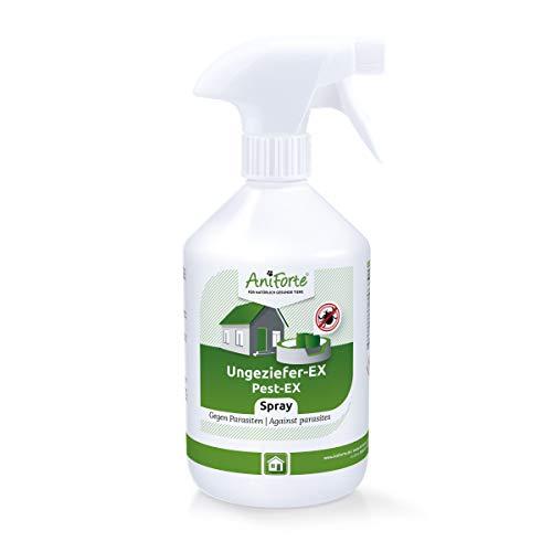 AniForte Ungeziefer-Ex Spray 500ml – Umgebungsspray bei akuten Befall gegen Insekten, Milben, Flöhe, Läuse & Bettwanzen, Ungeziefer Spray für Zuhause, Hunde & Katzen Liegeplätze, Insektenspray Abwehr