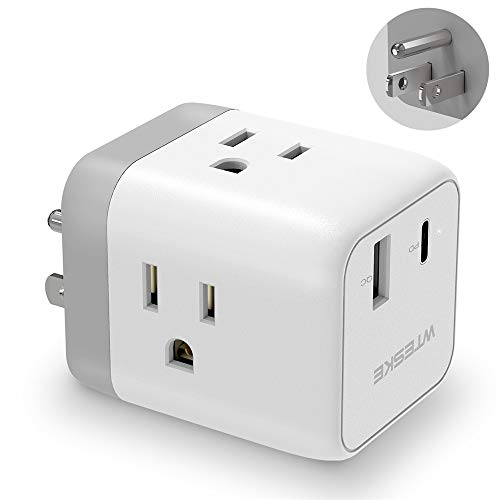 Multi Plug 3-Outlet Extender, WTESKE 18W USB C Wall Charger PD & Quick Charge 3.0, Travel Adapter Cube Cruise Ship with Outlet Splitter