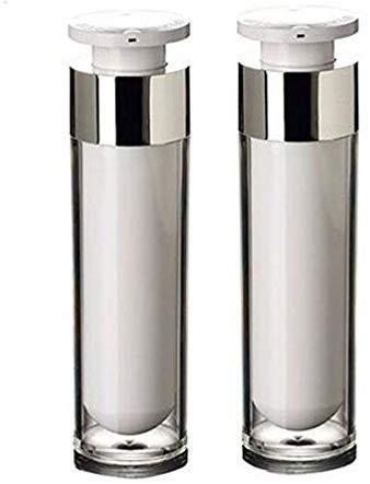 KongEU Lot de 2 flacons de Voyage Rechargeables pour crème, Lotion, Fond de Teint, cosmétique 15 ml/30 ml/50 ML, 15 ML