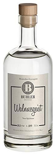 Walnussgeist, Brennerei Bühler, feines Nussaroma und vollmundiger Geschmack, mild, 38% Vol. 0,5 L