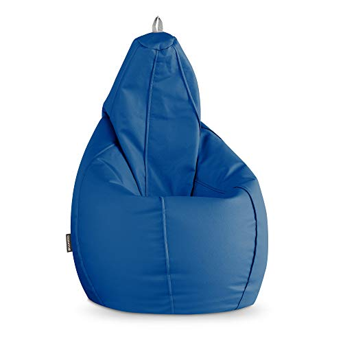 HAPPERS Puff Pera Polipiel Interior Azul XL