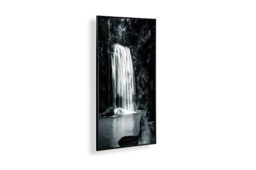 Könighaus Fern Infrarotheizung – Bildheizung in HD Qualität mit TÜV/GS - 200+ Bilder -300Watt - Patentiert - Schwarzer Rahmen(006. Wasserfall Erawan) Black Edition