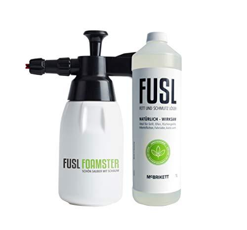 McBrikett Set Angebot: FUSL FOAMSTER Schaumdrucksprüher & 1 Liter FUSL Bio-Reiniger, Grillreiniger