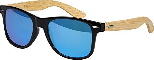 Balinco gafas de empollón de bambú en estilo retro de los vidrios unisex de la vendimia con la bisagra del resorte - (bambú - Espejo Azul)
