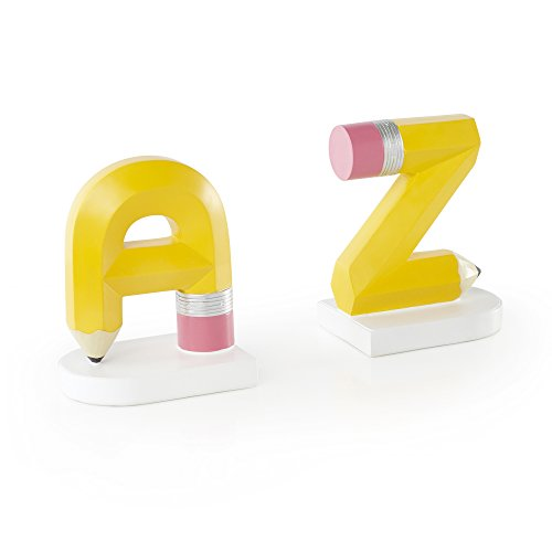 Guidecraft Alphabet A to Z Hand Painted Bookends - Teachers Book Shelf Organizer for School Library, Classroom and Kids Bedroom Décor Furniture