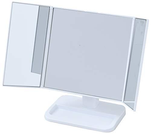 山善 卓上 三面鏡 幅22-43×奥行13×高さ26.5cm コンパクト 収納スペース ホワイト PM3-4326(WH)