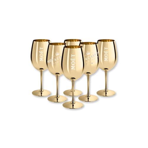 Moët & Chandon - Set di 6 bicchieri da champagne in vero vetro, colore: oro
