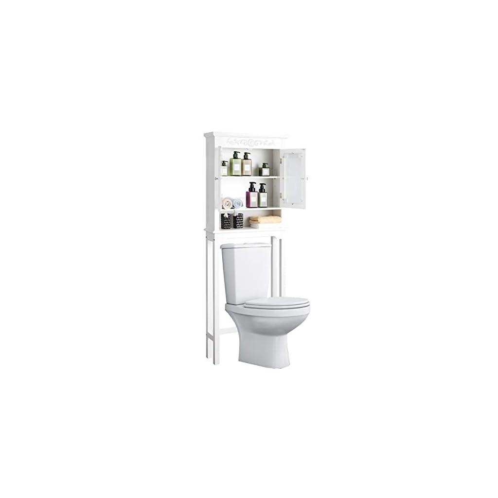 DREAMADE Etagère de Salle de Bain Dessus Toilettes, Meuble de Rangement WC avec Double Porte en Bois et Verre Trempé…