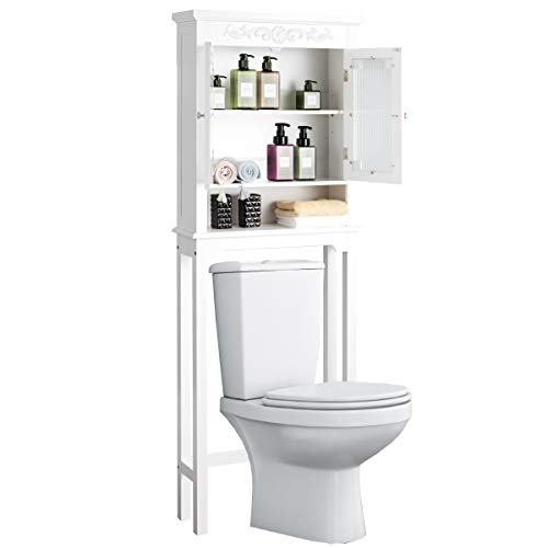 COSTWAY Toilettenschrank weiß, Badezimmerregal Holz, Überbauschrank Bad, Badschrank freistehend, Hochschrank Badregal Badmöbel mit verstellbarem Regal