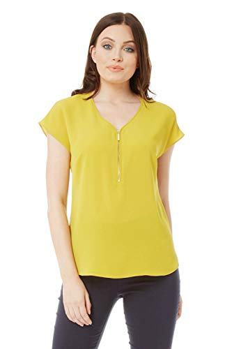 Roman Originals Damen kurzärmeliges Top mit V-Ausschnitt - Damen Blusen für Arbeit, elegant, Büro, Vorstellungsgespräche, Business, zum Ausgehen - Limette - Größe 38