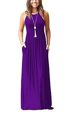 ZIOOER Women's Sleeveless Racerback Loose Plain Maxi Dresses Casual Long Pockets Dresses