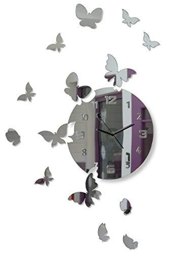 FLEXISTYLE Große Moderne Wanduhr Schmetterling rund 30cm, 15 Schmetterlinge, Wohnzimmer, Schlafzimmer, Kinderzimmer, Produkt in der EU hergestellt (Spiegel)
