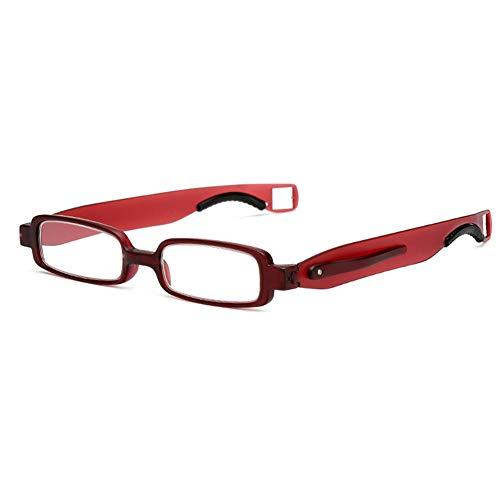 Opvouwbare 360-graden roterende blauw licht blokkerende leesbril met lederen tas, zakpenclip Anti-verblinding Eye Strain-lezers, Unisex
