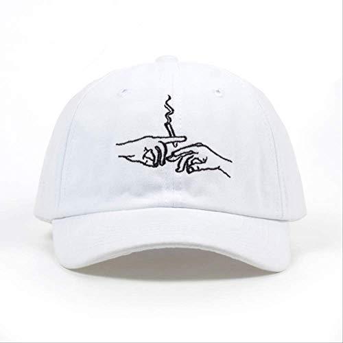 ZZDGFC Baseball Cap Smoke Baseball Cap Papa Hut für Männer Frauen Stickerei Hände Rauchmuster Trucker Cap Weed Bone Golf Baseball HutWeiß