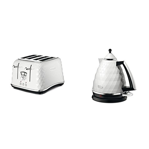 De'Longhi CTJ4003.W Brillante Faceted 4 Slice Toaster - White & De'Longhi Brillante Faceted Jug Kettle, 3 KW - White
