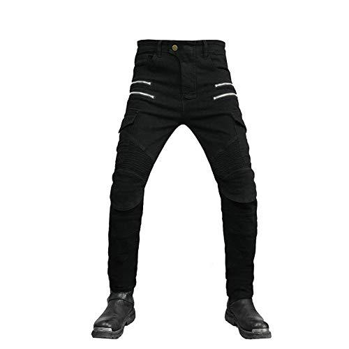 KAISUN Hombres Pantalones de Motociclismo con 4 Almohadillas Protectoras Desmontables, Jeans De Moto de Motocross Transpirables (Negro,28W / S)