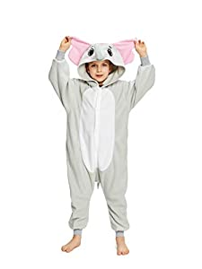 NEWCOSPLAY Unisex Children Animal Elephant Pajamas Halloween Costume (8, Grey Elephant)