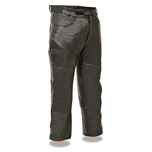 Milwaukee Leather SH1150 Men's Black Leather Over Pants with Jean Style Pockets - 36