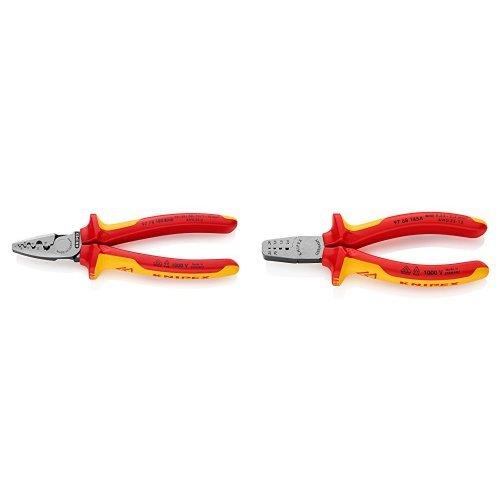 Knipex 97 78 180 - Alicate Para Entallar Punteras + 97 68 145 A - Alicates Crimp