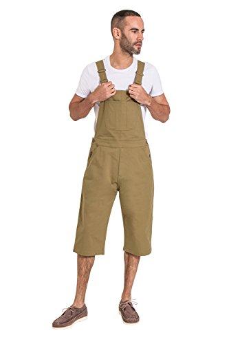 USKEES Loose fit Herren Latzhose Overall Shorts - Olive Latz Shorts CHRISTOPHERSHORTOLIVE-32W