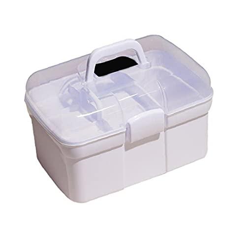 AtheMeet Nail Art Caja de Almacenamiento de plástico Caja de Herramienta de Gran Capacidad portátil de Mano de Doble Capa Caja de Compartimiento para Manicuristas