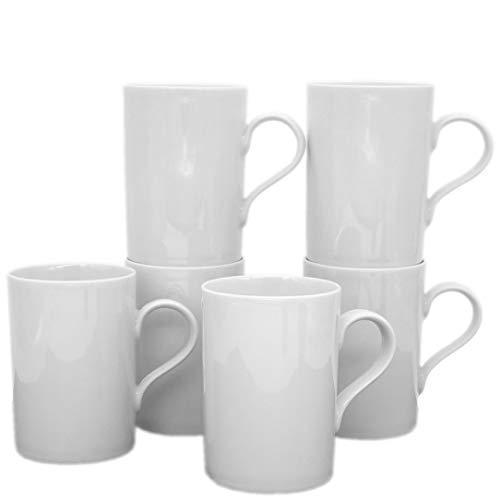 Kahla 530265A90053B Aronda Becher-Set weiß Kaffeebecher 6 teilig 6 Personen 300 ml Henkelbecher Porzellanbecher Set Tee Kakao Tassenset