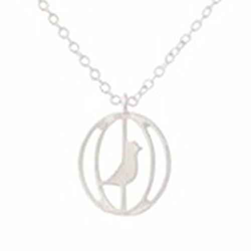 Plata de Ley Oro pájaro en jaula colgante collar vintage diseño inspirado en