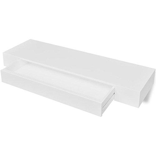 FZYHFA Wandregal mit Schublade, weiß MDF für Bücher/DVD-Design, einfach und praktisch, stabil und langlebig, modernes Wandregal