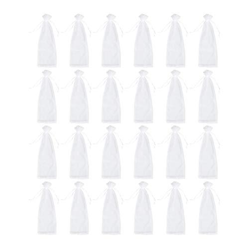 Gaoominy Paquete de 24 Bolsas de Organza para Vino, Bolsas de Regalo de Organza con CordóN para Botellas de Vino para Baby Shower, Bodas y Regalos de Fiesta, Color Blanco