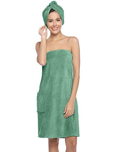 Zexxxy - Toalla de sauna para mujer, cierre de velcro, elástica, algodón, toalla de sauna, toalla de rizo, toalla de sauna, toalla de sauna, sauna, kilt verde, M