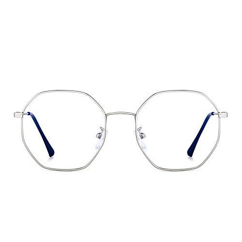 JM Damen Anti Blaues Licht Blockierung Brillen Mode Designer Computer Gläser Reduzieren Auge Belastung Silber