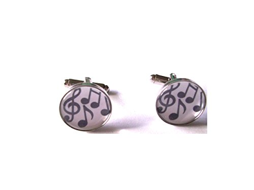 Musique Boutons de manchette avec grande Notes de musique sous verre cabochon dômes en velours Boîte à boutons de manchette