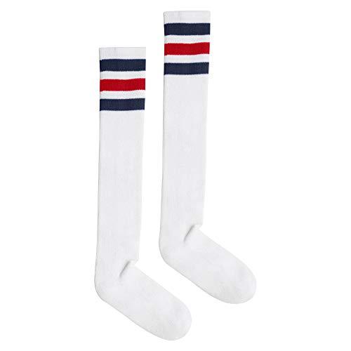 American Apparel Damen Stripe Knee-High Socken, Weiß/Marineblau/Rot, Einheitsgröße