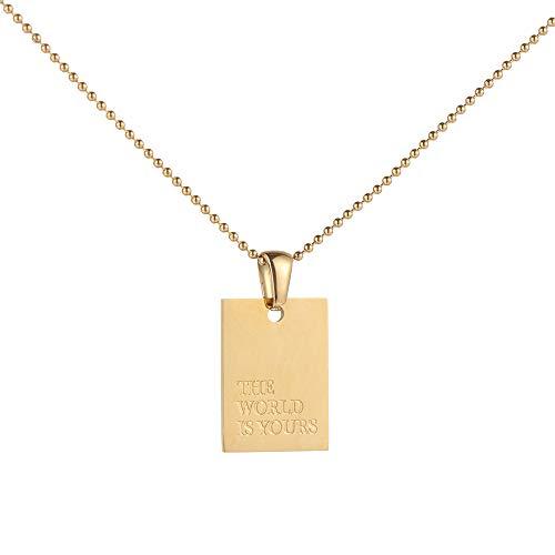 Joyería de moda Accesorios de fiesta de acero inoxidable Regalo del día de San Valentín grabado collar colgante colgante cuadrado color dorado (estilo D)