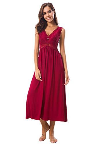 Alcea Rosea Damen Schlafwäsche Nachthemd mit Spitze V Ausschnitt ärmellos Elegante Nachtwäsche Negligé (Weinrot, L)