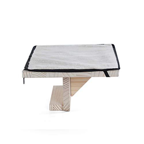 Effen houten kattenhangmat, hangende vensterbank Cat Nest, binnen huisdier kat raam inktvis hangmat rust stoel ligstoel, gemakkelijk te installeren en demonteren A