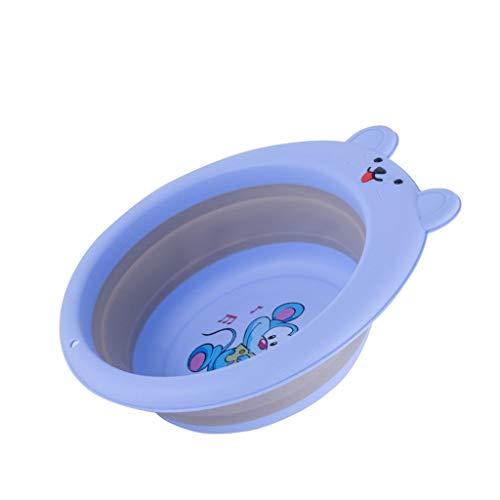 Bassin pliant Pliant bébé Lavabo Out Portable de Voyage Creative Cartoon Rat Mignon bébé Pied Bassin XINYALAMP (Color : Blue)