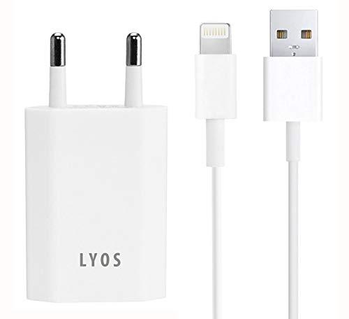 LYOS Ladeset 1 Meter [USB Ladekabel und Netzteil] Ladegerät kompatibel mit iPhone 11, Pro, Max, X, Xs, Xr, 8, 8 Plus, 7, 7 Plus, 6, 6s, 6, SE, 5, 5s, iPod, iPad 4, Pro,Mini, 2 in weiß