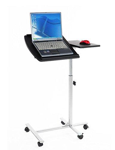 Furniturer mobile computer laptop supporto da scrivania regolabile angolo carrello portatile tavolo girevole nero  e rotelle/ruote