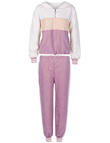 Lavnis Women's Tracksuit Plus Size 2 Piece Outfits Hoodie and Pants Sports Sweatsuit Set (S, Purple)