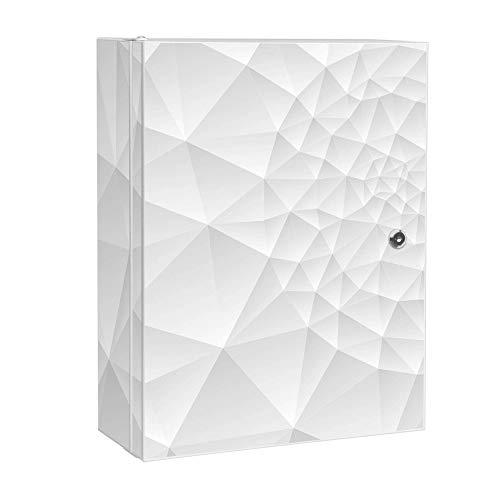 banjado XXL Medizinschrank abschliessbar | großer Arzneischrank 35x46x15cm | Medikamentenschrank aus Metall weiß | Motiv Nautilus mit 2 Schlüsseln | Gestaltung auf Front und Seiten