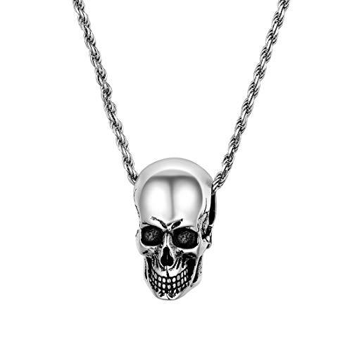 U7 Collar de Plata con Colgante de Cabeza de Calavera dise├▒o de Ciclista g├│tico para Hombres y Mujeres, Regalo Punk Colgante de Plata de Ley