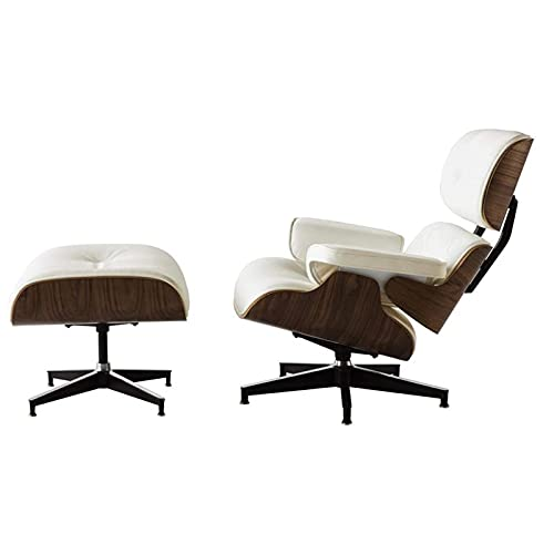 CN Cover Recliner with footstool, medieval armchair recliner, modern bedroom recliner with leather (light walnut + ivory white skin)