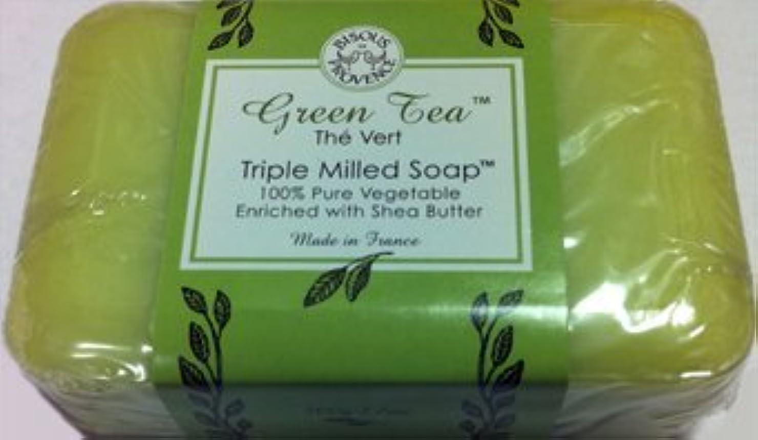 テロ軽くたらいGreen Tea The Vert Triple Milled Soap 100% Pure Vegetable Enriched with Shea Butter by Bisous Provence/Trader Joe's [並行輸入品]