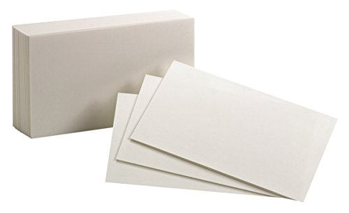 """Oxford Blank Index Cards, 3"""" x 5"""", White, 100 Per Pack (40135)"""